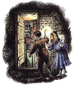 Pauline Bayne's color illustration from Chapter One: The Wrong Door of The Magician's Nephew
