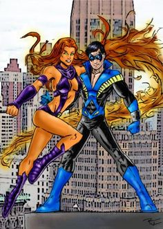 DC Comics Nightwing and Starfire (Robin or Dick Grayson) (Koriand`r or Kori)