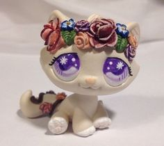 Littlest pet shop Cat * Sweet Flower Kitty * Custom Hand Painted LPS OOAK #Hasbro