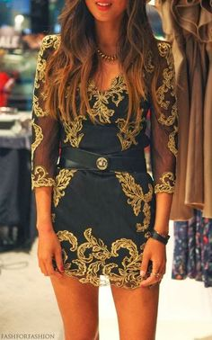 Black and golden summer party dress
