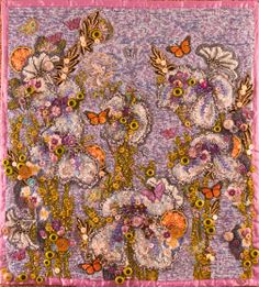 """""""Japanese Irises{ -  an art quilt embellished with buttons and beads. The flowers that were the inspiration is in my """"Garden"""" board. Nancy Smeltzer, © 2009"""