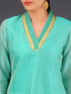 Aqua-Green Chanderi Tissue V-Neck Straight Kurta with Embroidery - Size L: Shoulder - Chest - Waist - Hip - Length - Size XL: Shoulder - Chest - Waist - Hip - Length - For yellow and mustard Design Of Neck, Neck Designs For Suits, Kurta Neck Design, Neckline Designs, Dress Neck Designs, Blouse Designs, Salwar Pattern, Kurta Patterns, Dress Patterns