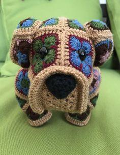 Crochet Stuffed Dog Bulldog African Flowers by CuteAsABella on Etsy