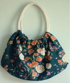Bolsa de tecido com alça de cordas, artesanato com molde | Cacareco