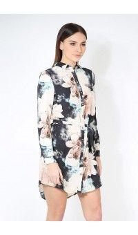 Camellia Floral Collard Buttons Cuff Sleeve Belted Shirt Dress £16.99