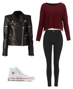 Untitled #13 by catiasofiaafonso on Polyvore featuring polyvore fashion style Balmain Topshop Converse