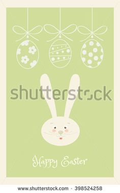 Happy Easter Holiday, Easter Egg and Rabbit and ribbon, Easter Bunny. Greeting card background. Vector Illustration, vintage style. For Art, Print, Fashion, Web design