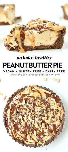 Vegan peanut butter pie is a healthy peanut butter pie with coconut milk. A gluten-free, grain-free chocolate almond crust with chia peanut butter filling. Low Gi Desserts, Vegan Dessert Recipes, Vegan Sweets, Healthy Sweets, Gluten Free Desserts, Health Desserts, Healthy Recipes, Healthy Filling Meals, Vegetarian Desserts