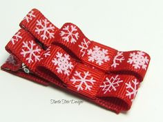 Baby Hair Clips  Red Snowflakes Alligator by TurtleTotsDesigns, $3.00