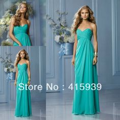 Custom Available Turquoise Sweetheart Chifon Floor Length Long Bridesmaid Dress Brides Maid Dress Free Shipping BN115 $55.91