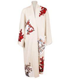 Embroidered Silk Kimono Coat by Oscar de la Renta Kimono Coat, Silk Coat, Silk Kimono, Cotton Cardigan, Embroidered Silk, Beaded Embroidery, Wool Sweaters, Daily Fashion, Mantel