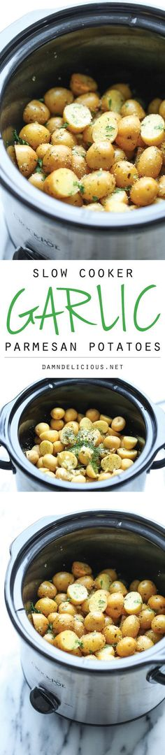 Slow Cooker Garlic Parmesan Potatoes - Crisp-tender potatoes with garlicky parmesan goodness. It's the easiest side dish you will ever make in the crockpot! @damn