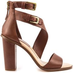 Dolce Vita Women's Oriana - Brown Leather (1.802.310 IDR) ❤ liked on Polyvore featuring shoes, sandals, heels, high heels, brown, brown leather sandals, brown heel sandals, block heel sandals, double buckle sandals and block heel shoes