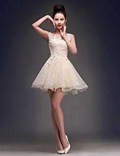 vestido de cóctel del regreso al hogar - Champagne una línea primicia corto / mini de raso / tul