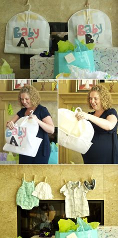Gender Reveal Idea: Put boy or girl clothes in garment bags for the parents to unzip!