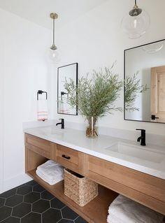 Interior Design Ideas: Lindsay Hill Interiors - modern farmhouse bathroom design with black hexagon tile, modern metal mirrors, White Oak Bathroom - Neutral Modern Bathrooms, Modern Farmhouse Bathroom, Modern Bathroom Design, Beautiful Bathrooms, Bathroom Interior Design, Bathroom Designs, Minimal Bathroom, Contemporary Bathrooms, Colorful Bathroom