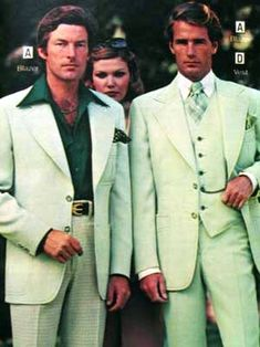 Leisure suits - are alternatives to business suits mean for casual wear. The top and pants are usually matching. Out of style by the end of the 70s