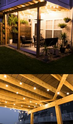 Modern design ideas for a small backyard // how to hang globe string lights under a deck on a patio // Carport Patio, Backyard Pergola, Pergola Shade, Pergola Ideas, Carport Garage, White Pergola, Deck Patio, Pergola Kits, Gazebo