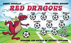 Dragons-Red-41712 digitally printed vinyl soccer sports team banner. Made in the USA and shipped fast by BannersUSA. www.bannersusa.com