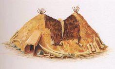Reconstitution d'une hutte en os de mammouth (Musée de Kiev, Ukraine).