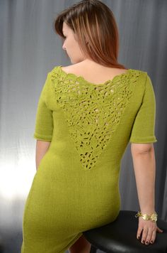 Items similar to Green knit summer dress with Irish lace on Etsy Irish Lace, Crochet Top, Passion, Style Inspiration, Pullover, Summer Dresses, Knitting, Trending Outfits, Green
