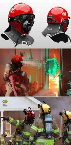 Swedish designer, Omer Haciomeroglu, re-imagined the fire-fighters helmet by including a heads up display to offer improved vision and to inform the user of vital and extra information. The prototype has been dubbed the C-Thru Smoke Diving Helmet. Tech Gadgets, Cool Gadgets, Diving Helmet, Thermal Imaging Camera, New Inventions, Wearable Technology, Futuristic Technology, Digital Technology, Educational Technology