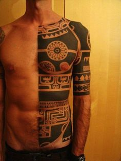 Half-torso and half-sleeve tattoo.  Lots of big, bold blackwork. I hope that someday I'll get to get a Celtic version of something like this
