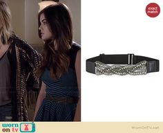 Aria's blue and orange apron and blue and black striped dress on Pretty Little Liars.  Outfit Details: http://wornontv.net/36583/ #PLL