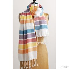 Rainbow Striped Scarf  Wrap yourself in a rainbow of soft pastels with this woven cotton scarf. Hand wash. SERRV design.