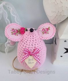 Best Mum Crochet Pink Mouse by TabbyCraftDesigns on Etsy, £14.95