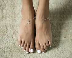 Silver Anklet anchor charm Sterling Silver by OneYellowButterflyy