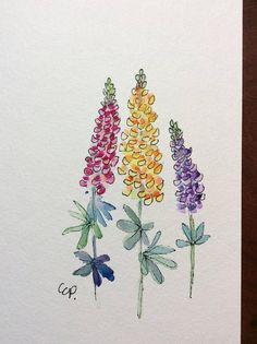 Lupine Flowers Watercolor Card / Hand Painted Watercolor Card