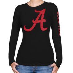 Alabama Crimson Tide Ladies Two Location Long Sleeve T-Shirt - Black