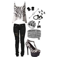 Untitled #66, created by andy-sixx-lover on Polyvore. I literally orgasmed when i saw this. i LOVE zebra print. not for all the piercings tho
