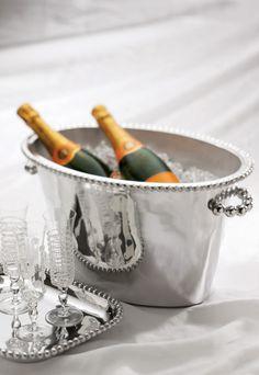 Mariposa String of Pearls Double Ice Bucket : 100% recycled aluminum : www.mariposa-gift.com #Mariposa #wedding #registry