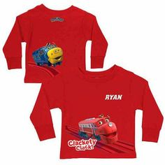Personalized Chuggington Clackety Clack! Toddler Boy Red Long Sleeve Tee, Size: 3 Years