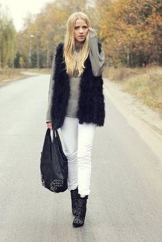 Winter-Style Reboot: 224 Street Snaps to Inspire You Now: Long layers gave this look a little more seasonal drama. Source: Lookbook.nu: White pants look totally seasonal with a touch of fur and a pair of studded ankle boots.  Source: Lookbook.nu