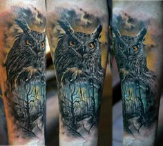 Owl Forest Tattoo Pinned by www.myowlbarn.com