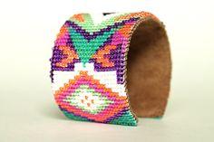 neon geometric loom woven wide cuff by geoBright on Etsy, $95.00