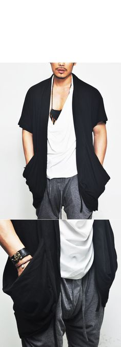 Outerwear :: Avant-garde Loose Ruffle Shawl Pocket-Cardigan 43 - Mens Fashion Clothing For An Attractive Guy Look