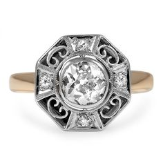 The Caressa Ring from Brilliant Earth One of a kind antique old mine cut .86 center diamond J color, SI clarity.