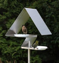 The Moderns: Sleek Fly-Thru Bird Feeder (and/or birdbath) Stainless Steel, German Made, Bird-Approved!