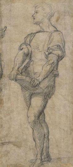 Andrea del Sarto (1486–1530), Study of a Standing Young Man Holding a Book, ca. 1515. Black chalk, 14 5/8 x 6 3/8 in. (37.1 x 16.2 cm). Staatliche Museen zu Berlin, Kupferstichkabinett bpk, Berlin / Kupferstichkabinett, Staatliche Museen, Berlin, Germany / Photo: Volker-H. Schneider / Art Resource, NY