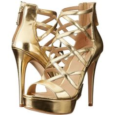 GUESS Kadani (Gold) High Heels ($90) ❤ liked on Polyvore featuring shoes, pumps, heels, gold peep toe pumps, gold heel pumps, high heeled footwear, gold pumps and platform shoes