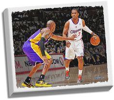 Chris Paul Dribbling Versus Kobe Bryant Stretched 32X40 Canvas Uns