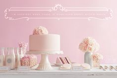 Blush Dessert Table. Cakes, cookies, mousse and vintage-style milk. Style shoot by De la Creme Studio