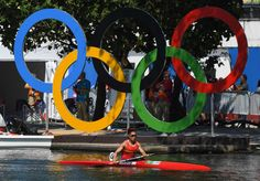 Yu Zhou of China paddles during the women's kayak single 500 semifinal in the Rio 2016 Summer Olympic Games during at Lagoa Stadium.