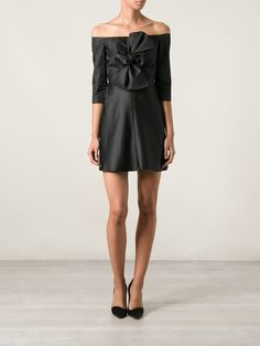 Carven Bow Detail Deep Boat Neck Flared Dress - Smets - Farfetch.com
