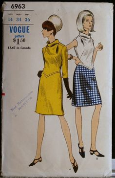Vogue 6963 Vintage 60s Sewing Pattern Misses Mod by olivealley, $24.00