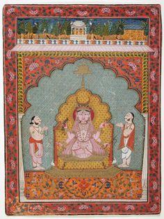 Durga being worshipped, Kota, Rajasthan, ca Gouache Durga Kali, Durga Goddess, Shiva Shakti, Indian Goddess, Indian Artist, Hindu Art, Indian Paintings, Sacred Art, Textile Prints